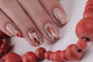 Рисунки с листьями на ногтях, маникюр с осенними листьями