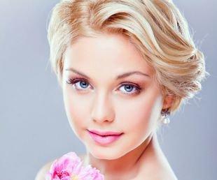 Свадебный макияж в персиковых тонах, макияж на выпускной для блондинок