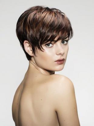 Цвет волос какао, короткая стрижка в классическом стиле