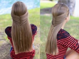 """Праздничные детские прически на длинные волосы, прическа для девочки """"мальвинка с косичкой"""""""