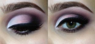 Свадебный макияж с фиолетовыми тенями, сиреневый макияж глаз смоки айс