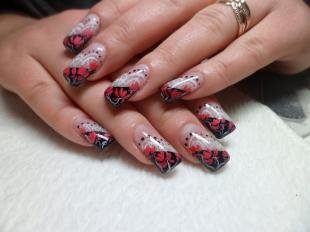 Черный френч, художественная роспись ногтей