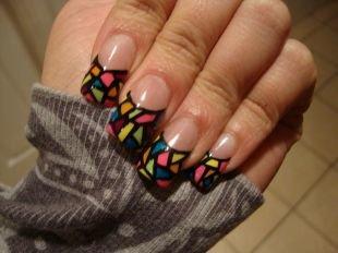 Дизайн нарощенных ногтей, маникюр френч-мозаика