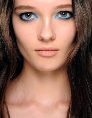 Макияж для далеко посаженных глаз, голубой макияж глаз