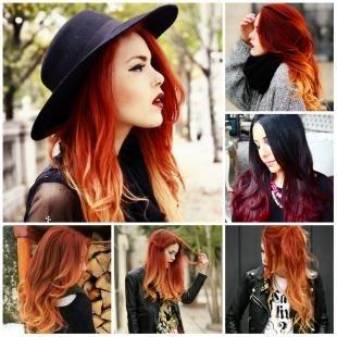 Стрижки и прически на длинные волосы, омбре-окрашивание на рыжие волосы