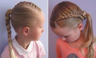 Модные прически для девочек, прическа в школу с хвостом и плетением для девочек
