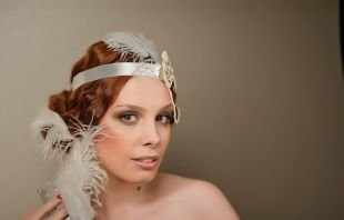 Свадебные прически на длинные волосы, свадебная прическа на длинные волосы в стиле чикаго 20-30 годов