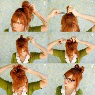Прически на последний звонок на средние волосы, оригинальная прическа бант из волос