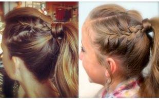 Модные прически для девочек, прическа с хвостом и косами в школу