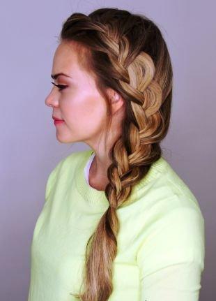 Прическа колосок на длинные волосы, объемная прическа на основе французской косы