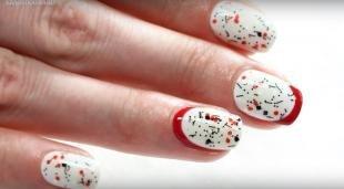 Красный френч, стильный френч на натуральных ногтях