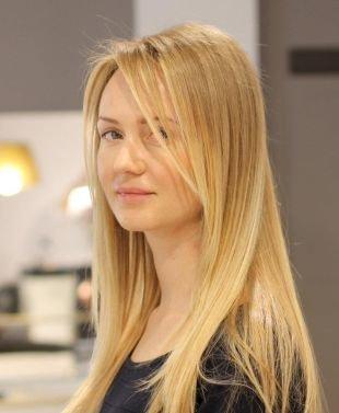 Медовый цвет волос на длинные волосы, красивое мелирование на светлые волосы