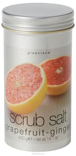 """Скраб для тела, greenland скраб-соль """"fruit emotions"""" для ванны, с грейпфрутом и имбирем, 400 г"""