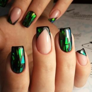 Зеленый френч, модный френч битое стекло