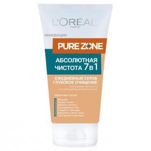 Скраб для жирной кожи лица, скраб для лица l'oreal paris pure zone абсолютная чистота 7в1, 150 мл, глубокое очищение