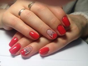 Рисунки на красных ногтях, красный маникюр с бантиками из страз