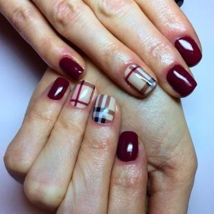 """Маникюр на коротких ногтях, бордовый дизайн ногтей в стиле """"барберри"""""""