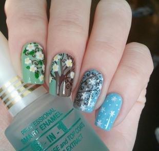 Рисунки с листьями на ногтях, растительный рисунок на ногтях