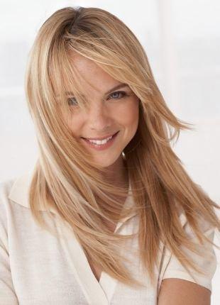 Цвет волос мокко блонд, гладкая укладка длинных тонких волос