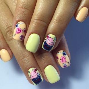 Современные рисунки на ногтях, маникюр на 14 февраля