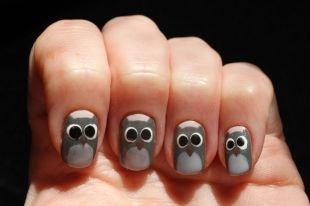 """Рисунки на ногтях кисточкой, маникюр """"совы"""""""