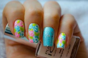 Маникюр хорошее настроение, дизайн ногтей акриловыми красками