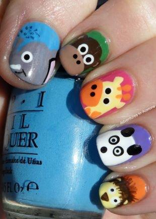 Необычные рисунки на ногтях, изображения зверушек на ногтях