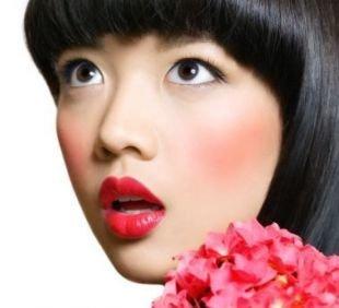 Макияж с красной помадой, японский макияж