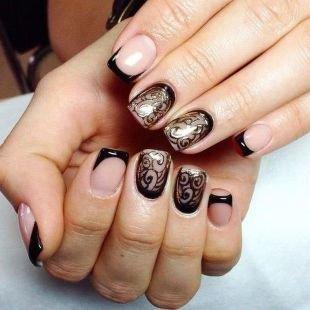 Черный дизайн ногтей, черный френч с ажурным рисунком