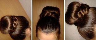 Темно русый цвет волос, прическа пучок с косой на длинные волосы