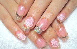 Французский маникюр (френч), дизайн нарощенных ногтей с розами
