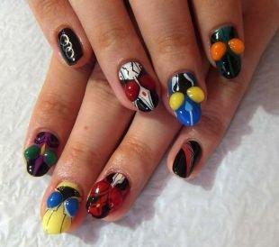 Рисунки на черных ногтях, объемный дизайн ногтей