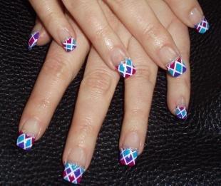 Синий френч, френч с геометрическими узорами