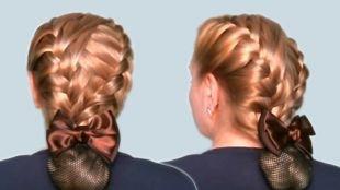 Карамельный цвет волос на длинные волосы, аккуратная прическа с плетением