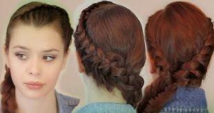 """Красно коричневый цвет волос, французские косы, вплетенные в косу """"рыбий хвост"""""""