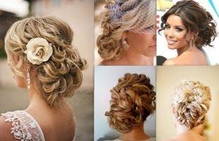 Прически с цветами, красивые свадебные прически на средние волосы